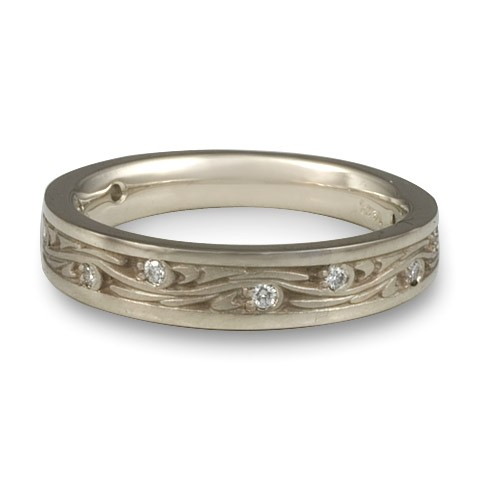 Extra Narrow Starry Night With Diamonds Wedding Bandin 14K White Gold