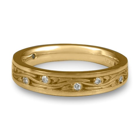 Extra Narrow Starry Night With Diamonds Wedding Band in14K Yellow Gold