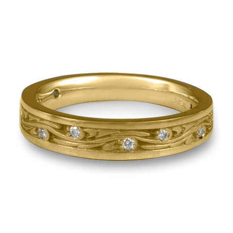 Extra Narrow Starry Night With Diamonds Wedding Band in 18K Yellow Gold