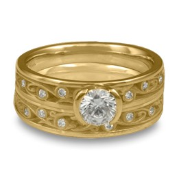 Extra Narrow Continuous Garden Gate With Diamonds Engagement Ring Set in 18K Yellow Gold