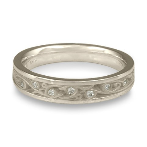Extra Narrow Continuous Garden Gate With Diamonds Wedding Band in Platinum