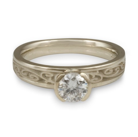 Extra Narrow Continuous Garden Gate Engagement Ring in 14K White Gold