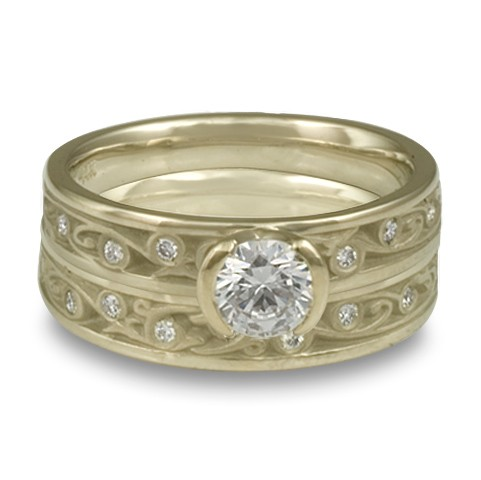 Extra Narrow Continuous Garden Gate With Diamonds Engagement Ring Set in 18K White Gold