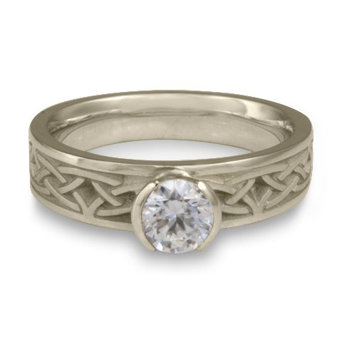 Extra Narrow Celtic Arches Engagement Ring in 14K White Gold