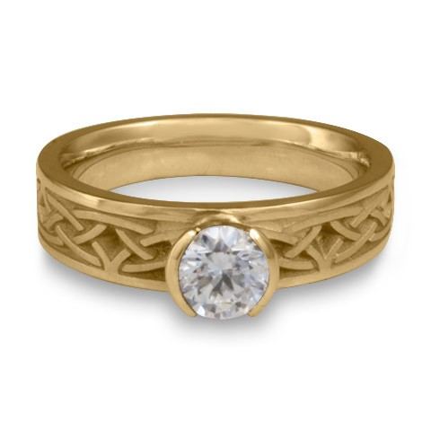 Extra Narrow Celtic Arches Engagement Ring in 14K Yellow Gold