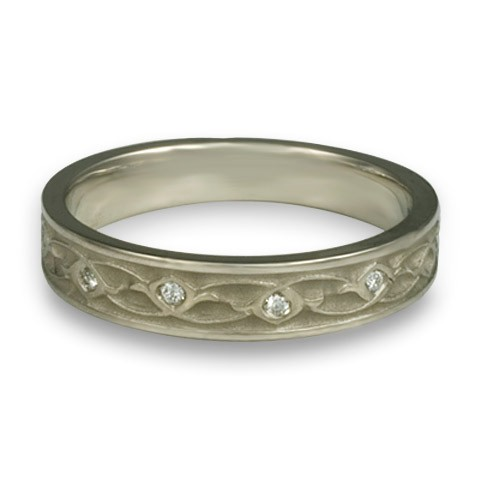 Extra Narrow Water Lilies with Diamonds Wedding Ring in 14K White Gold