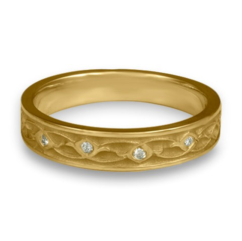 Extra Narrow Water Lilies with Diamonds Wedding Ring in 14K Yellow Gold