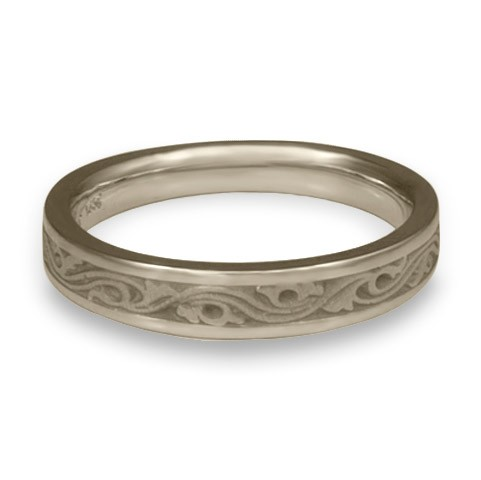 Extra Narrow Wind and Waves Wedding Ring in 14K White Gold