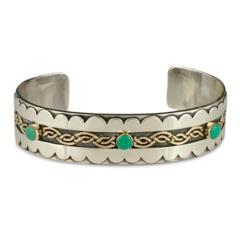 Celtic Wave with Gem Cuff Bracelet