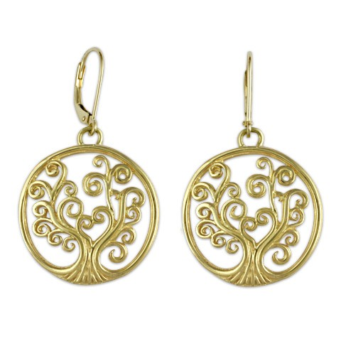 Tree of Life Earrings in 14K Yellow Gold