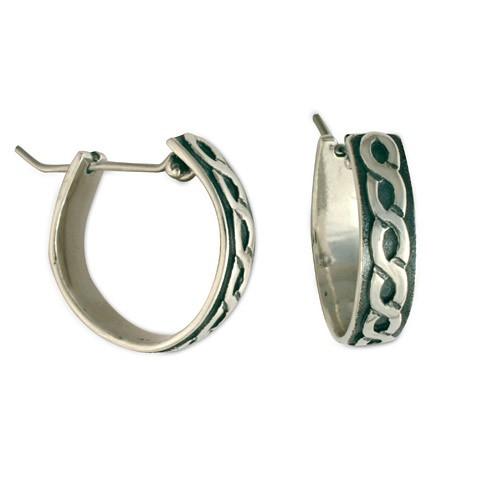 Rope Hoop Silver Earrings