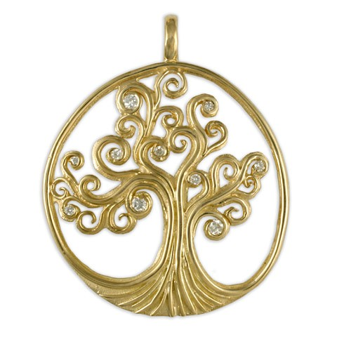 Gold with Diamonds Tree of Life Pendant