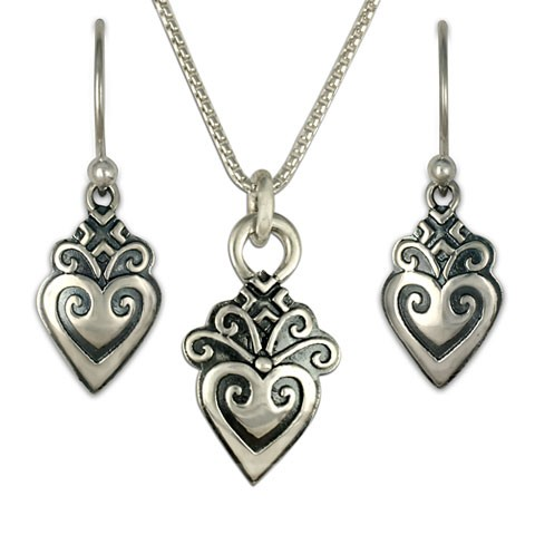 Corazonita Earrings and Pendant Set