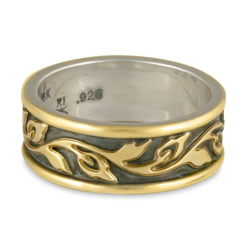 Narrow Bordered Flores Wedding Ring in Gold over Silver (GGG)