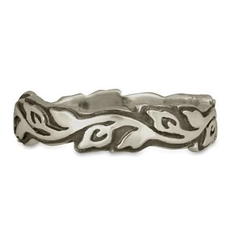 Medium Borderless Flores Wedding Ring in Sterling Silver