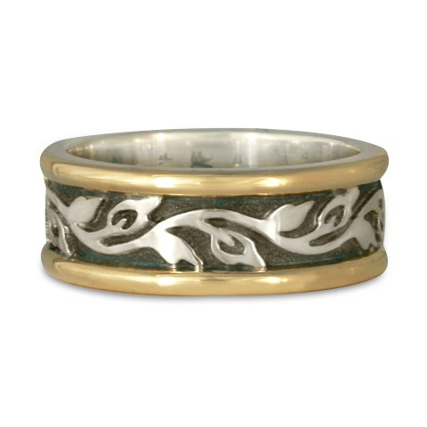 Medium Bordered Flores Wedding Ring in Gold over Silver (GSG)