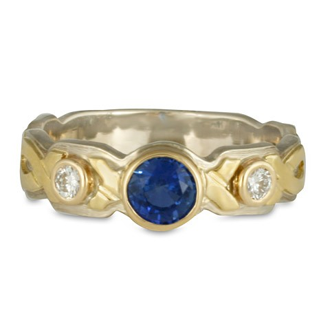 Wrap Solitaire Two Tone Gold Ring with Sapphire and Diamonds