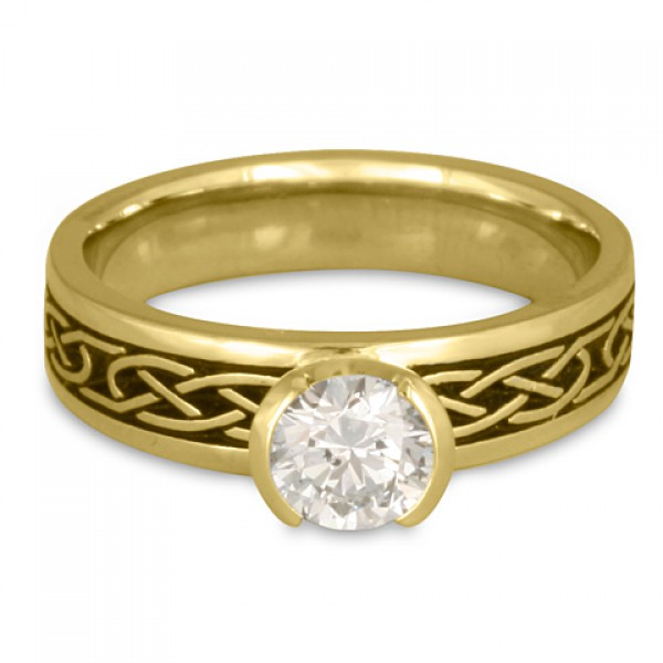 love knot engagement ring in 18k yellow gold by celtic jewelry