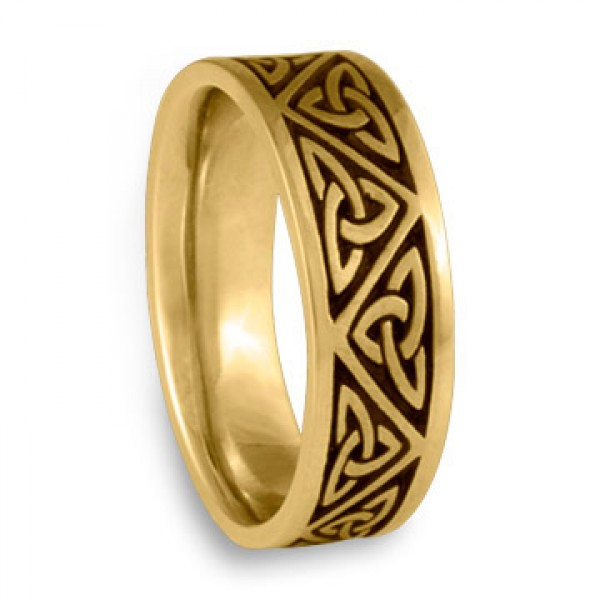 Wide Trinity Knot Wedding Ring in 18k Yellow Gold, by Celtic Jewelry
