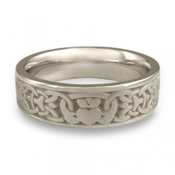 wide claddagh wedding ring in platinum by celtic jewelry