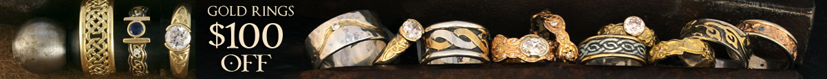 Gold wedding and engagement ring sale at celtic jewelry